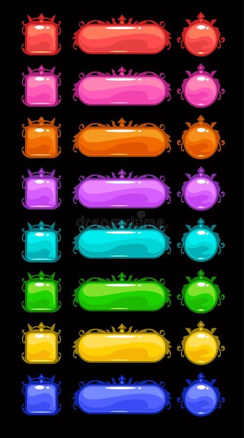 Boutons colorés de vecteur réglés illustration libre de droits