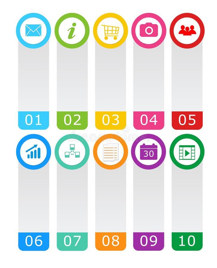 Boutons colorés pour le menu de page Web illustration libre de droits
