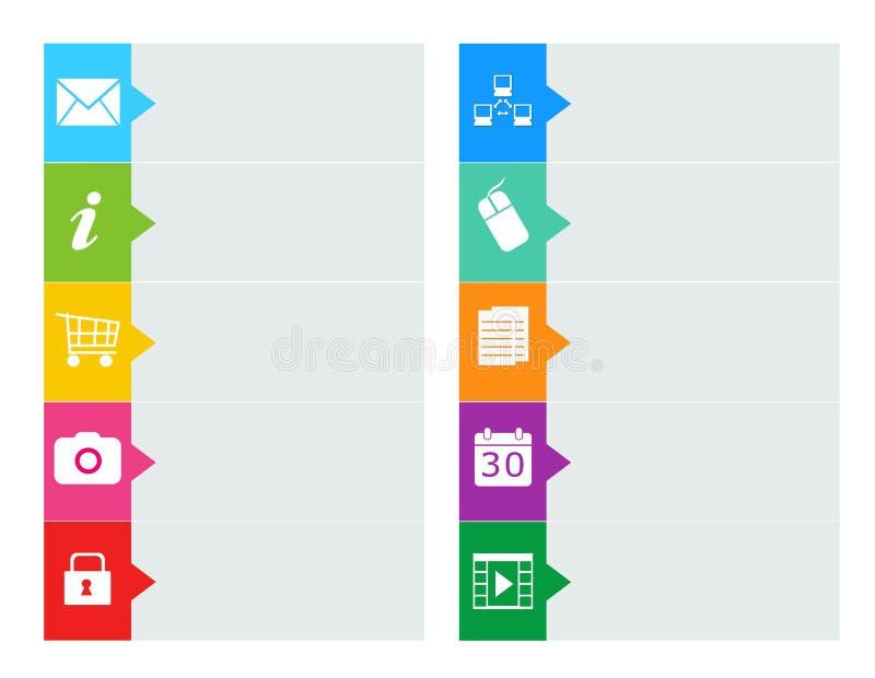 Boutons colorés pour le menu de page Web illustration de vecteur