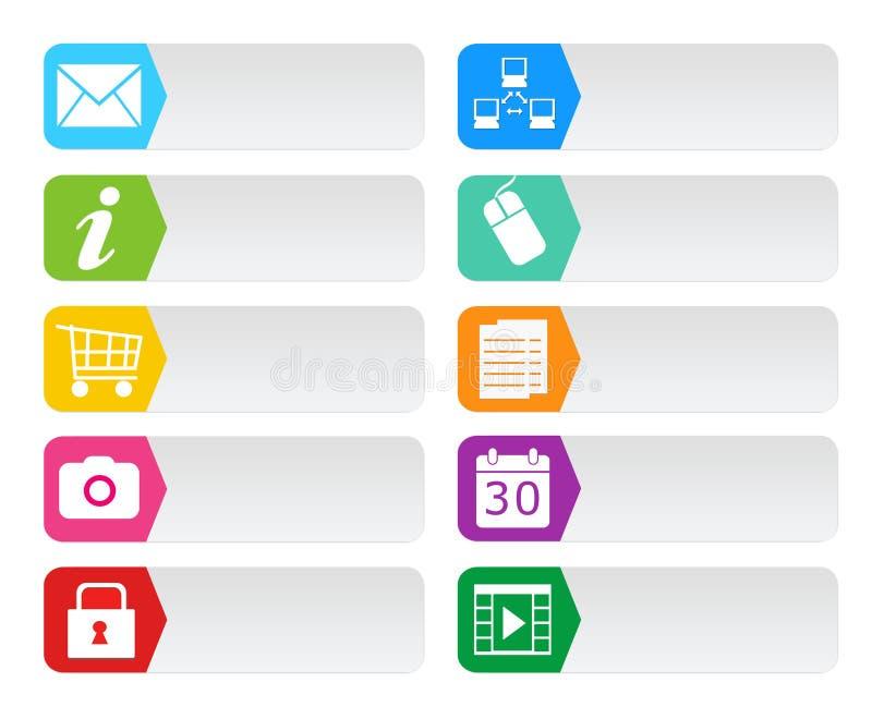 Boutons colorés pour le Web illustration stock