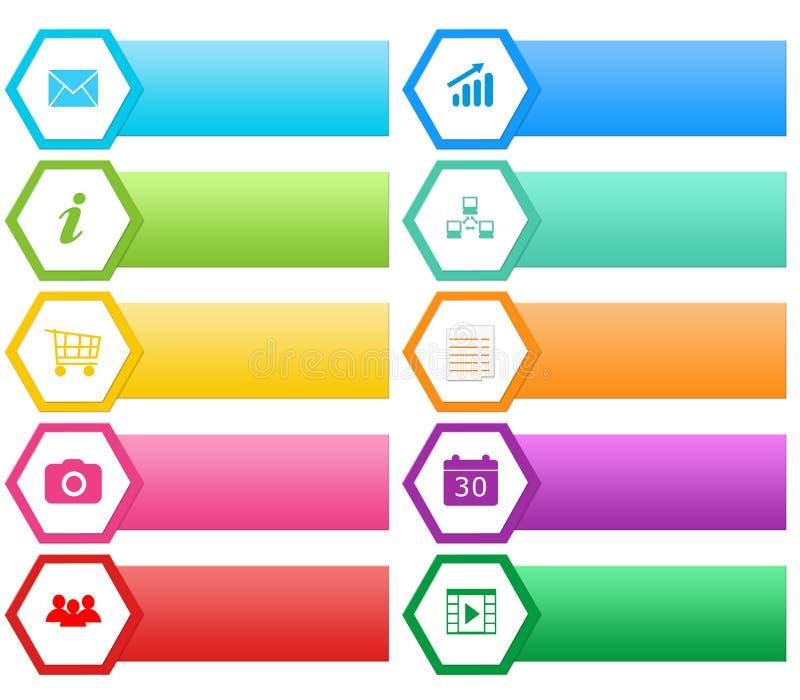 Boutons colorés pour le Web avec des hexagones illustration stock