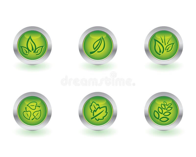 Boutons d'écologie illustration stock