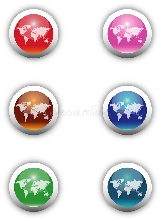 Boutons d'Aqua de Worldmap illustration de vecteur