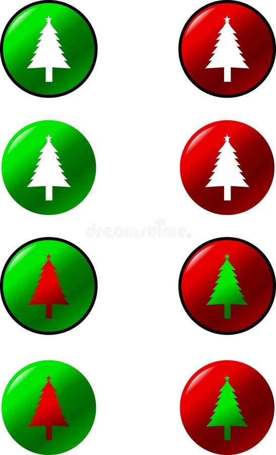 Boutons d'arbre de Noël illustration de vecteur