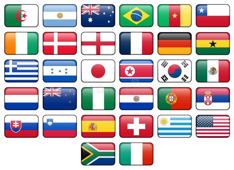 Boutons d'indicateur de la coupe du monde 2010 illustration stock