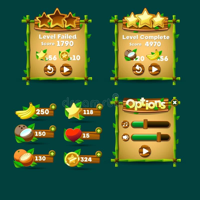 Boutons d'interface de jeu, barre de progrès, icône de ressource illustration libre de droits