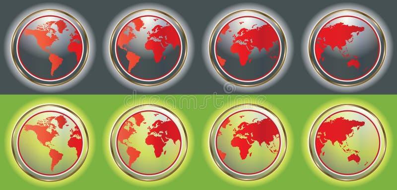 Boutons de carte du monde illustration stock