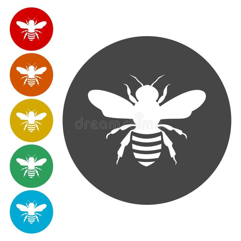 Boutons de cercle d'abeille Icônes d'abeilles de miel illustration libre de droits