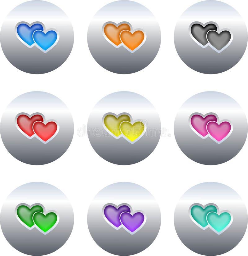 Boutons de coeur illustration de vecteur