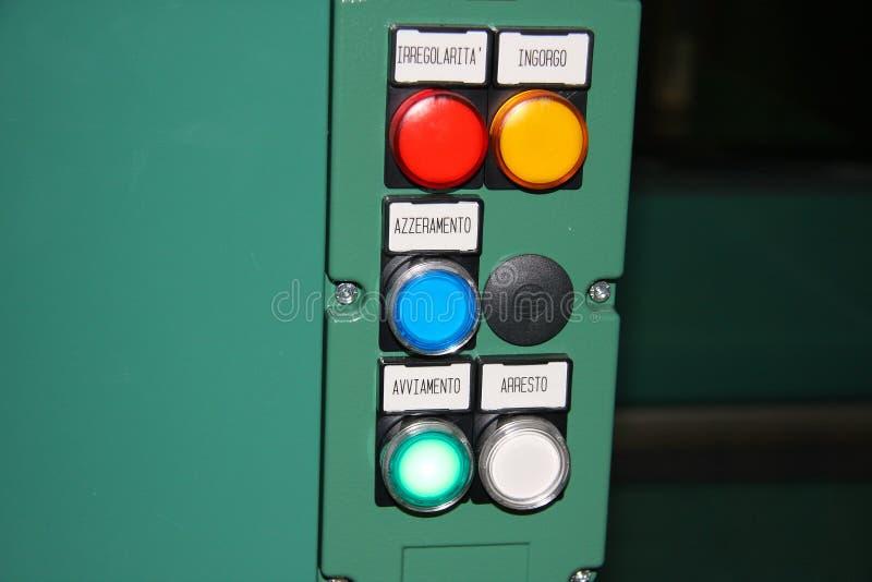 Boutons de commande et voyants de signalisation images libres de droits