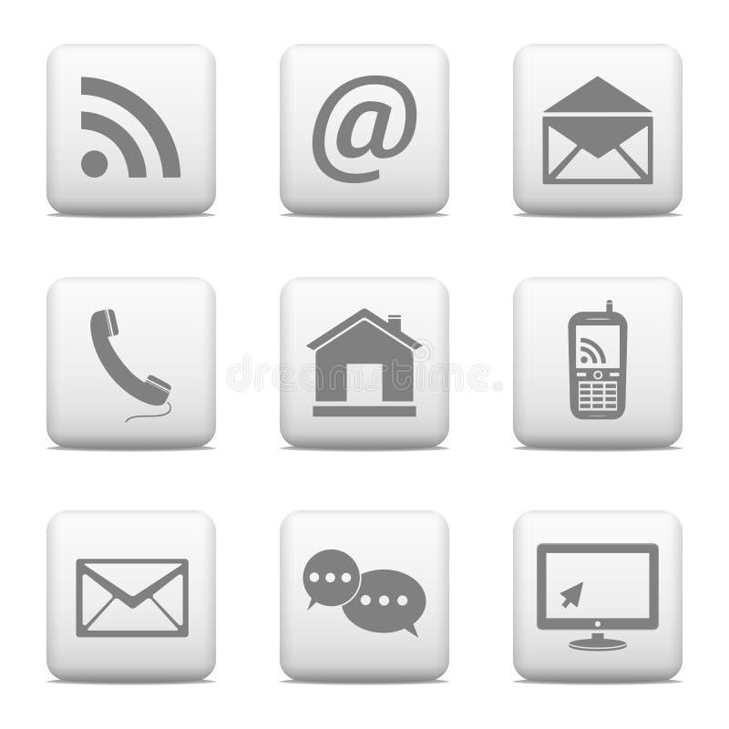 Boutons de contact réglés, icônes d'email illustration libre de droits