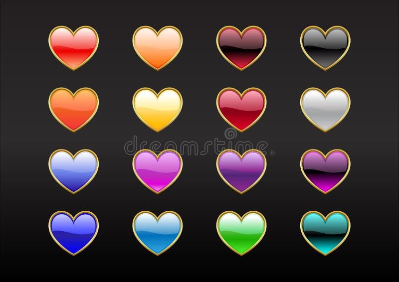 Boutons de forme de coeur illustration stock