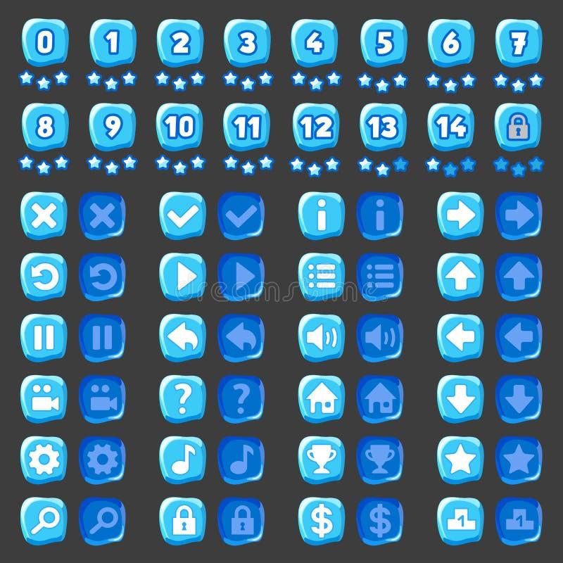 Boutons de glace d'icônes de menu de jeu illustration de vecteur