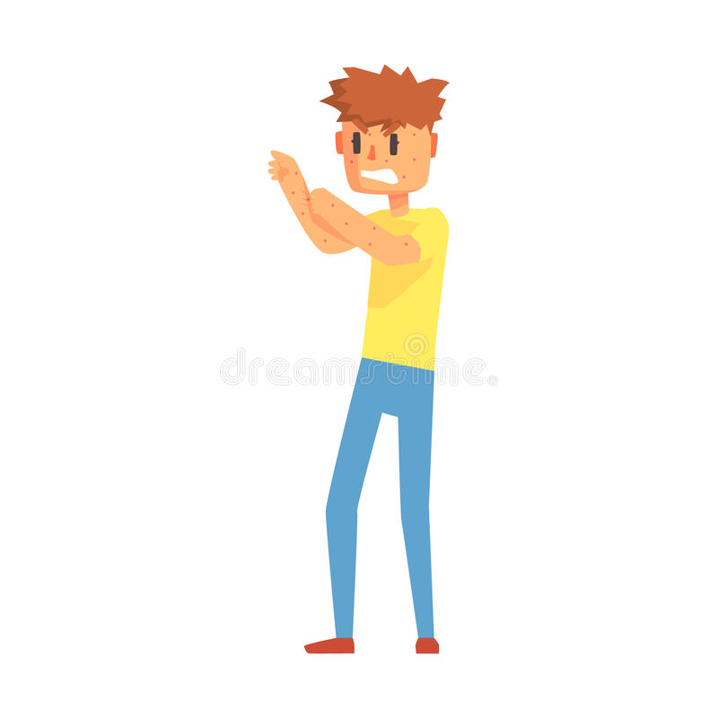 Boutons de Guy Scratching Arms Covered In, Person Feeling Unwell adulte, malade, souffrant de la maladie illustration stock