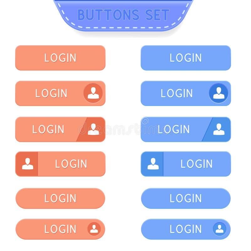 Boutons de login réglés Collection de boutons de Web illustration de vecteur