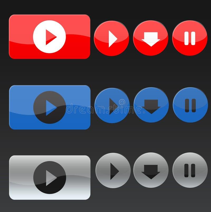 Boutons de musique de vecteur dans trois couleurs illustration de vecteur