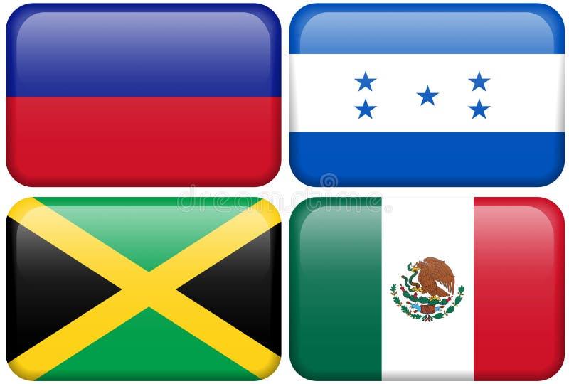 Boutons de Na : Le Haïti, Honduras, Jamaïque, Mexique illustration libre de droits