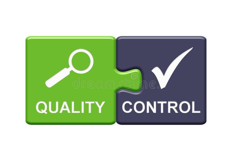 2 boutons de puzzle montrant l'allemand de contrôle de qualité illustration de vecteur