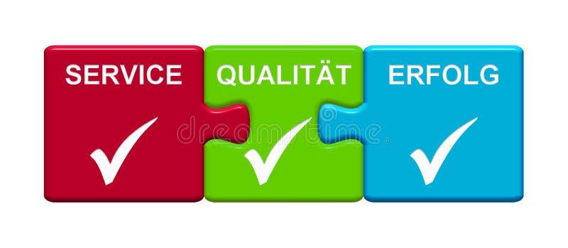 3 boutons de puzzle montrant l'allemand de service, de qualité et de succès illustration libre de droits