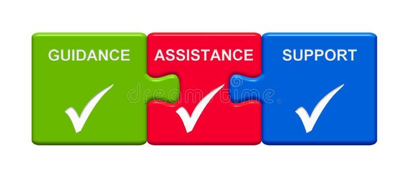 3 boutons de puzzle montrant l'appui d'aide de conseils illustration stock
