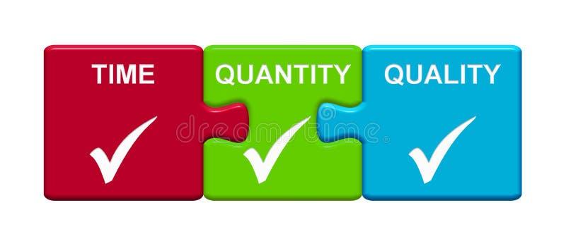 3 boutons de puzzle montrant le temps, quantité, qualité illustration stock