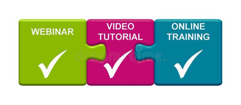 3 boutons de puzzle montrant Webinar, cours visuel et formation en ligne illustration de vecteur