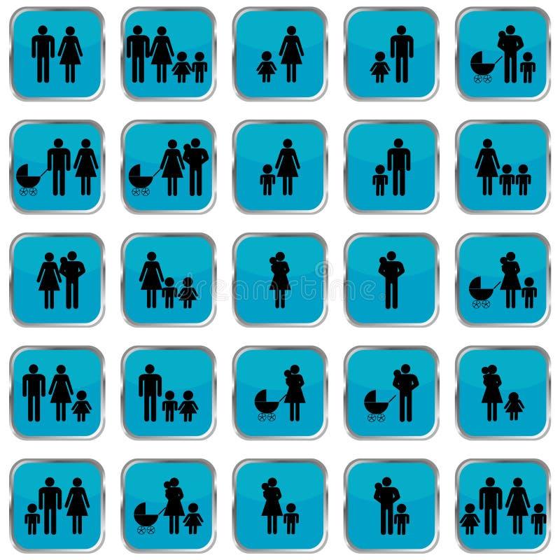 Boutons de symboles de famille illustration stock