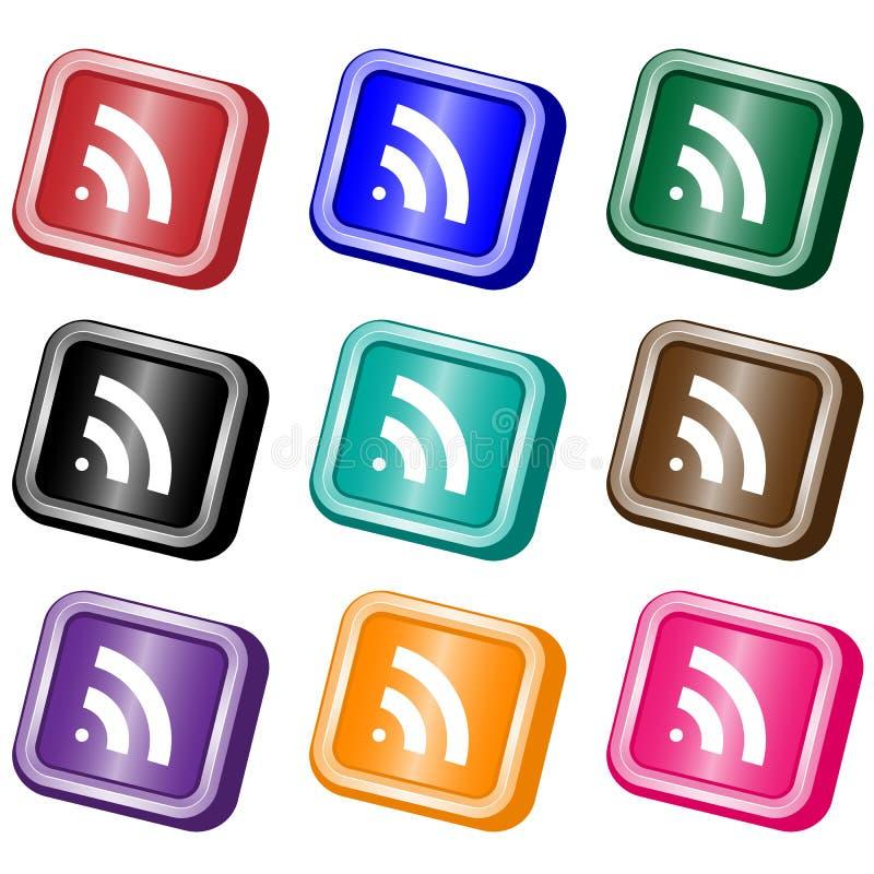 Boutons de Web d'alimentation de RSS illustration libre de droits