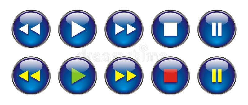Boutons de Web pour DVD/VCR/CD illustration libre de droits