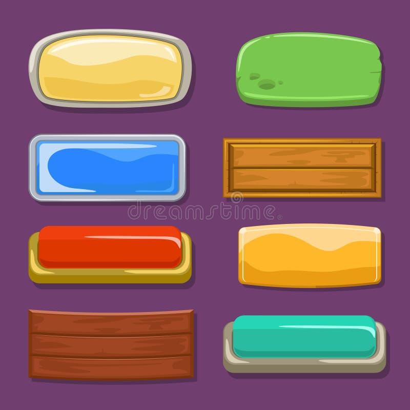 Boutons drôles multicolores sur un fond pourpre Image de vecteur illustration de vecteur