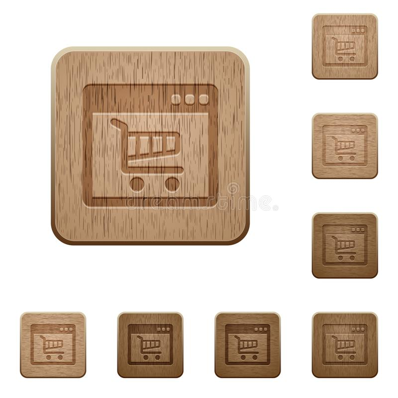 Boutons en bois d'application de Webshop illustration de vecteur