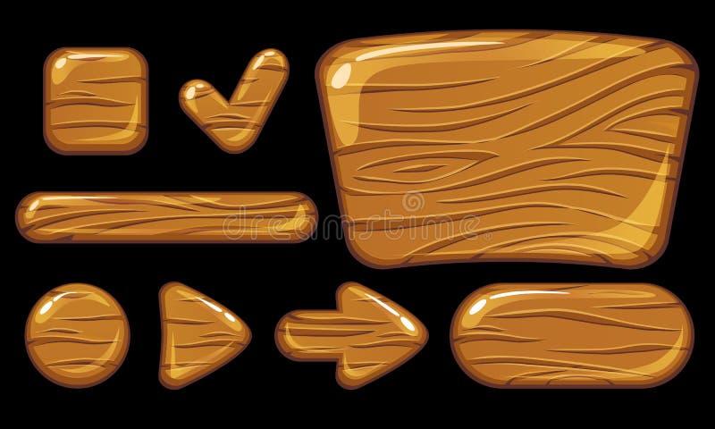 Boutons en bois de GUI Inteface d'utilisateur de jeu illustration stock