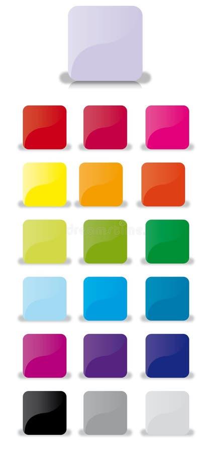 Boutons en verre carrés pour le Web illustration stock