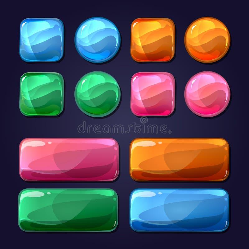 Boutons en verre de bande dessinée de vecteur pour l'utilisateur de jeu illustration de vecteur