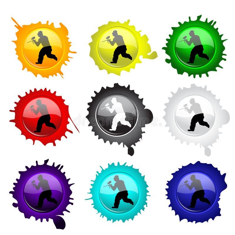 Boutons en verre de Paintball pour votre conception illustration libre de droits