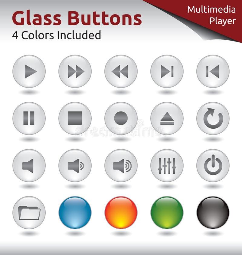 Boutons en verre - lecteur multimédia illustration stock