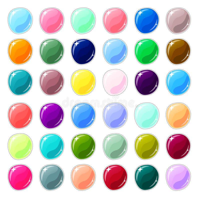 Boutons en verre multicolores sur le fond blanc Boutons vides pour le graphique de web design ou de jeu illustration libre de droits