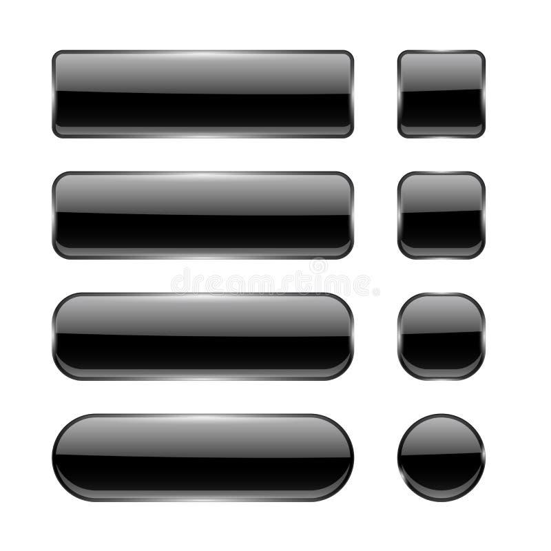 Boutons en verre noirs Éléments d'interface de menu Ensemble d'icônes 3d brillantes illustration libre de droits