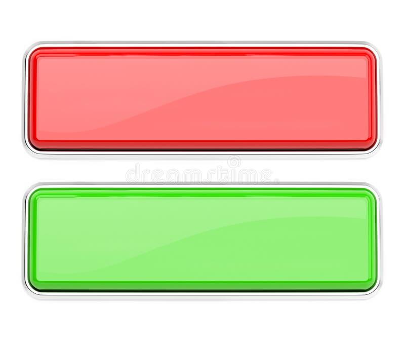 Boutons en verre rouge et vert Graphismes carr?s de Web illustration du rendu 3d d'isolement illustration stock