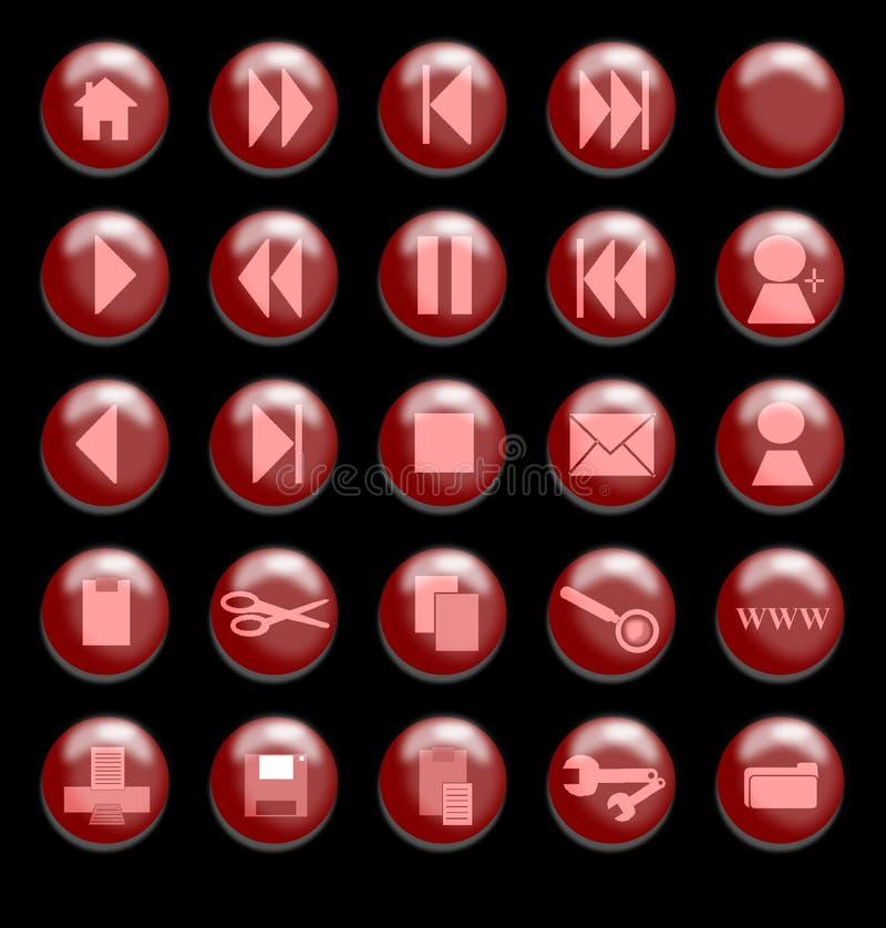 Boutons en verre rouges sur un fond noir illustration libre de droits