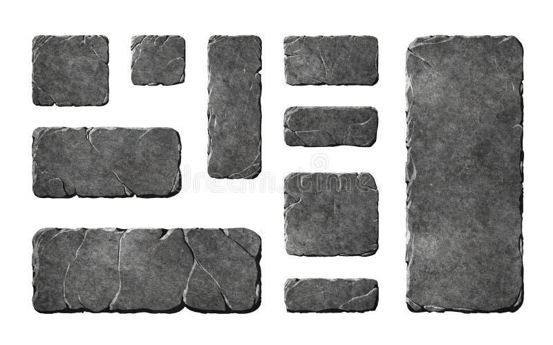 Boutons et éléments en pierre réalistes illustration stock