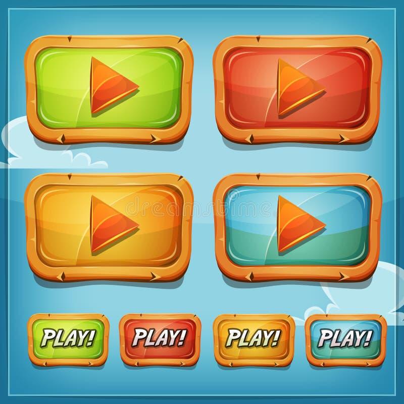 Boutons et icônes de jeu pour le jeu Ui illustration libre de droits