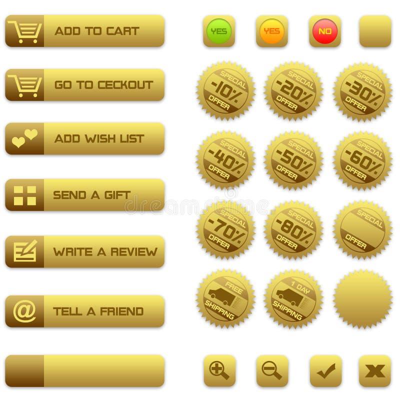 Boutons et insignes pour le commerce électronique illustration libre de droits