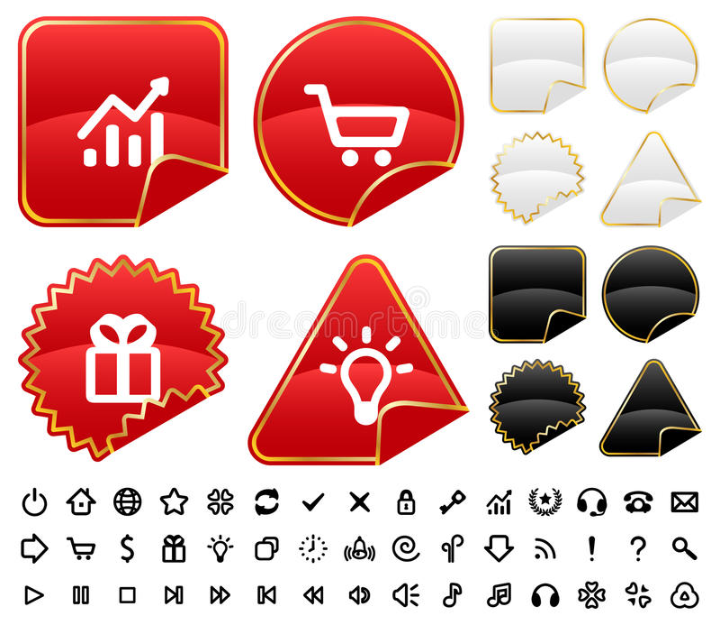 Boutons et signes réglés illustration de vecteur