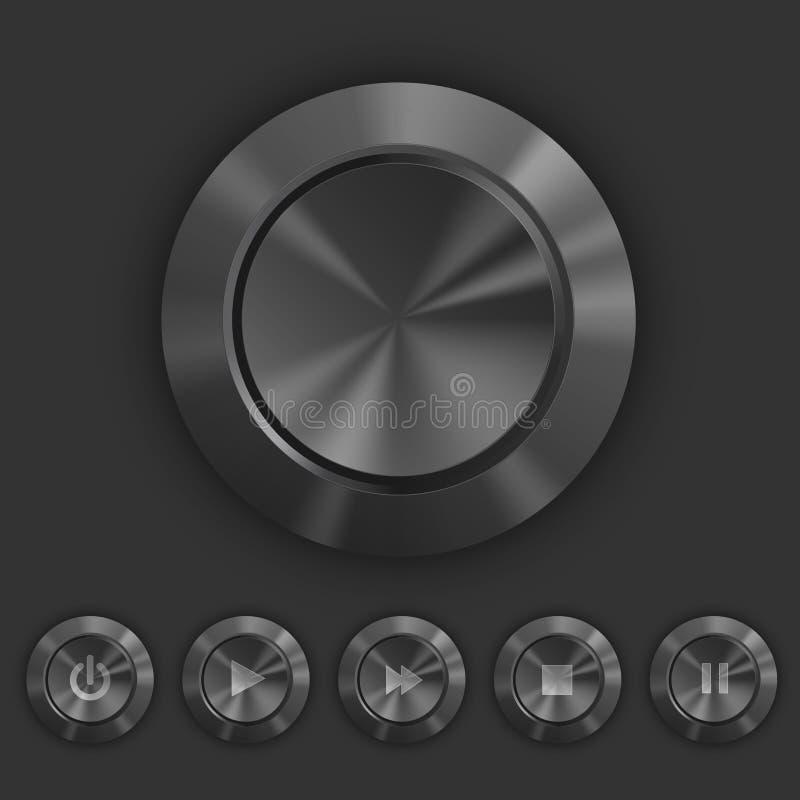 Boutons foncés métalliques avec le jeu, icônes de pause illustration de vecteur