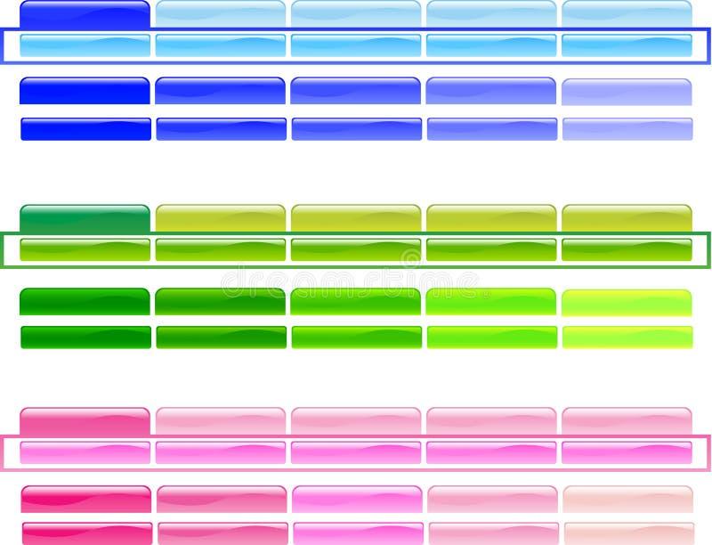 Boutons horizontaux 1 de menu images libres de droits