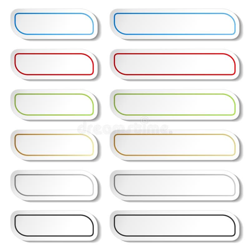 Boutons Lignes noires, vertes, bleues, d'or, grises et rouges sur les autocollants simples blancs, rectangle avec les coins arron illustration stock