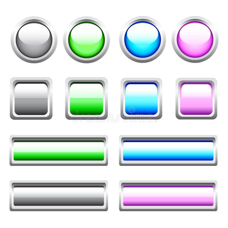 Boutons lustrés de Web de vecteur illustration stock
