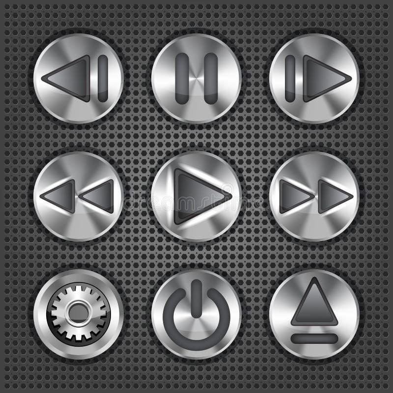 Boutons métalliques de molette de multimédia illustration libre de droits