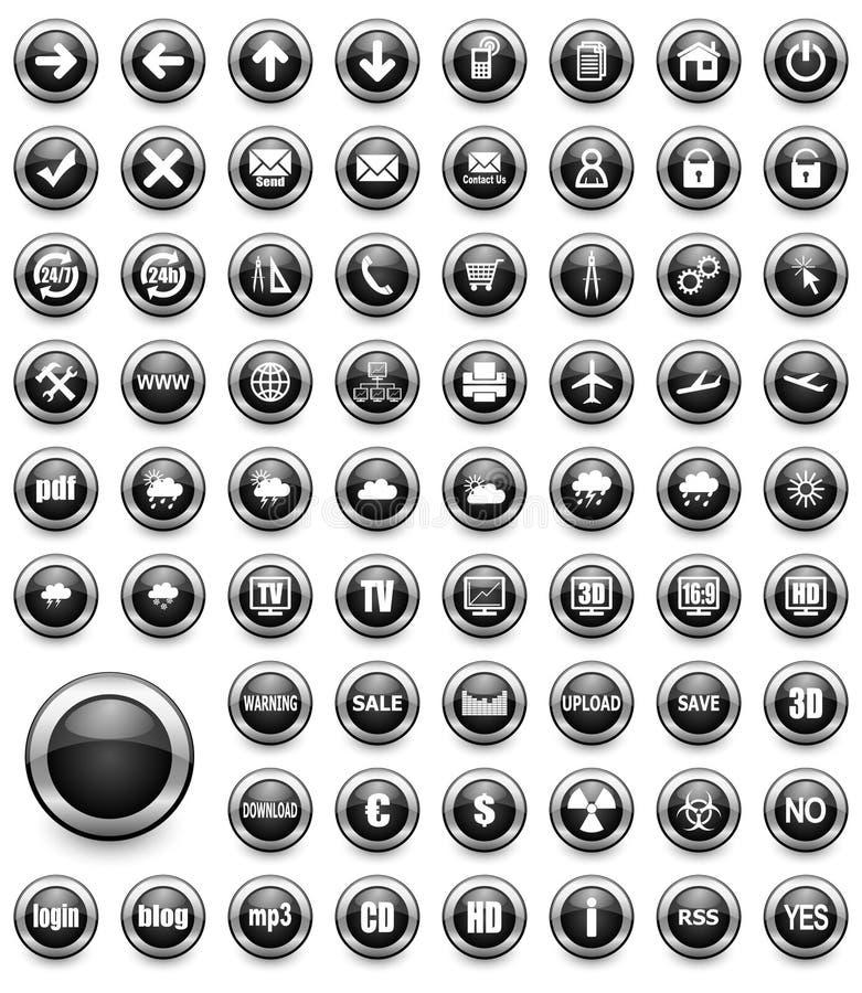 Boutons noirs de multimédia réglés illustration de vecteur